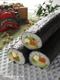 アボカド&サーモン&クリームチーズの太巻き♪ - Cache-Cache+