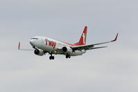 那覇に飛来した新塗装機 ティーウェイ航空 B737-800 - 南の島の飛行機日記