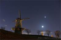 細い月と惑星の接近 長沼にて - 遥かなる月光の旅