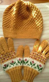 ひなぎくハット(黄色)&花かご手袋 〜ソフトメリノ6号輪針〜 - 笑う門には福来たる