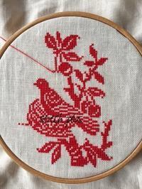 「四季の鳥」春 ② - 「Stitch +」 haruのクロスステッチ