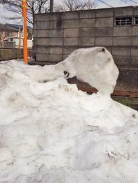 雪の山 ゆるゆる溶けて 芸術品 - 視線の先には