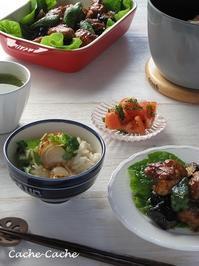 ストウブで♪ 帆立の炊き込みご飯や、鶏肉と茄子の甘辛炒めなど。 - Cache-Cache+