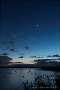 伊豆沼 細い月と金星 - 遥かなる月光の旅