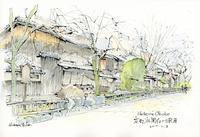 冬の祇園白川南通 - 風と雲