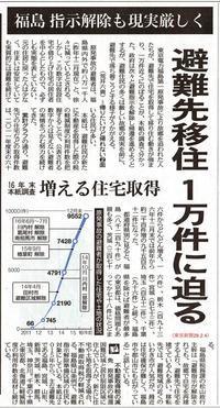 避難先移住1万件に迫る 帰れない苦渋の移住 福島指示解除の現実厳しく/東京新聞 - 瀬戸の風