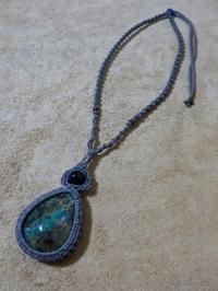 【マクラメ&ヘンプ】#108 ターコイズのネックレス - Shop Gramali Rabiya   (SGR)