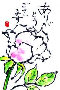 ありがとうの絵手紙 33-ピンクのミニバラ ♪♪ - NONKOの絵手紙便り