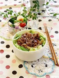 豚の生姜焼き丼弁当とリンゴ酵母でバゲット♪ - ☆Happy time☆