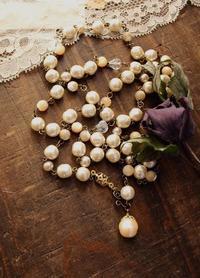 ガラスパールの、いろいろ使えるネックレス。 - Tammy Daisy ヴィンテージビーズに恋して   ハンドメイド・アクセサリー