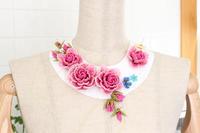 土台の型紙にビーズで作った薔薇を仮止めしてみました - ビーズ・フェルト刺繍作家PieniSieniのブログ