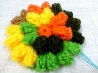 ☆パプコーン編みの花でアクリルタワシ☆ - ガジャのねーさんの  空をみあげて☆ Hazle cucu ☆