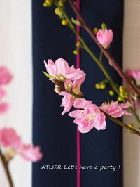桃の花を飾って ~「2月のテーブルコーディネート&おもてなし料理レッスン」より - ATELIER Let's have a party ! (アトリエレッツハブアパーティー)         テーブルコーディネート&おもてなし料理教室