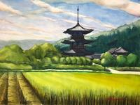 斑鳩。法起寺(F50号) - 風と旅人(絵画編)