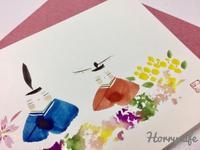 桃の節句にそなえて…  〜一花(いつか)さんの手描きのグリーティングカード - 趣味とお出かけの日記