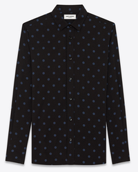 【Saint Laurent】SIGNATURE YVES COLLAR SHIRT IN BLACK AND DENIM BLUE POLKA DOT PRINTED VISCOSE - てっち衣装部ログ