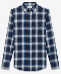 【Saint Laurent】CLASSIC WESTERN SHIRT IN BLUE AND IVORY PLAID COTTON - てっち衣装部ログ