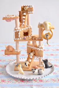 猫の日のクッキーキャットタワー詳細  Homemade Cat Tower Cookies for Japanese Cat Day 2 - お茶の時間にしましょうか-キャロ&ローラのちいさなまいにち- Caroline & Laura's tea break