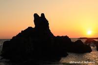 犬岩からの夕日 - かめらと一緒に。