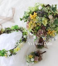 オレンジ色のドレスにあわせるブーケと花冠 - Ys Floral Deco Blog