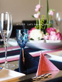 桃の節句のお飾り〜「2月のテーブルコーディネート&おもてなし料理レッスン」より - ATELIER Let's have a party ! (アトリエレッツハブアパーティー)         テーブルコーディネート&おもてなし料理教室
