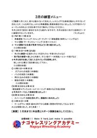 レスリング教室3月の練習メニューについて - NPO法人ナゴヤレスリングアカデミー公式ブログ