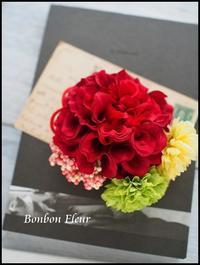 和装用 赤いダリアの髪飾り - Bonbon Fleur ~ Jours heureux  コサージュ&和装髪飾りボンボン・フルール