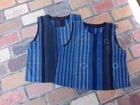 縞 接ぎ合わせ被りベスト - 古布や麻の葉