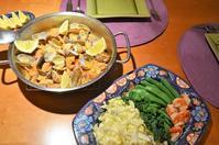 豚とアサリのアレンテージョ風/キャベツと春野菜と海老のサラダ/人参のポタージュ - まほろば日記