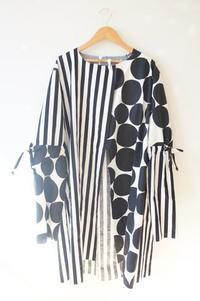 ストライプと大きめドットでスプリングコートを作っています。part2 - ハンドメイドで親子お揃い服 omusubi-five(オムスビファイブ)