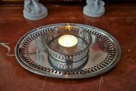 シルバープレート楕円中トレイ円筒付き159 - スペイン・バルセロナ・アンティーク gyu's shop