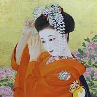 日本画10号S (53×53㎝)岩絵の具、箔、紙本 モデル 祇園まめ柳ちゃん - 黒川雅子のデッサン  BLOG版