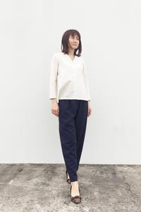 紬のフレアシャツ  九分袖(1848) - natural essence : EKO PROJECT