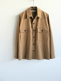 Honor gathering  micro peach ester cotton tussah shirt / army beige - 『Bumpkins putting on airs』