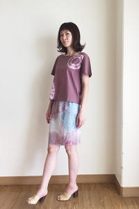シルクの絞り染め ミニスカート (1222) - natural essence : EKO PROJECT