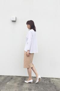 フレアーシャツ 九分袖 ホワイト (1847) - natural essence : EKO PROJECT
