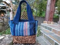 葡萄下籠に縞接ぎ合わせて シャボン玉刺し子バッグ - 古布や麻の葉