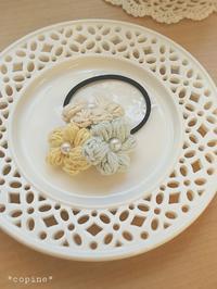 春カラーのヘアアクセサリー - *編み物のある生活 tsukurimono*
