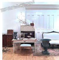 フランスアンティーク 白脚×ナチュラル天板のダイニングテーブル - clair de lune