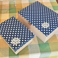 カルトナージュ箱 紺×水玉 - 手づくり屋 mushroom