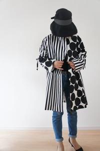 ストライプと大きめドットでスプリングコートを作っています。part3完成 - ハンドメイドで親子お揃い服 omusubi-five(オムスビファイブ)