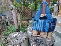 くるみ下籠に縞接ぎ合わせて シャボン玉刺し子バッグ 2 - 古布や麻の葉