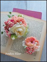 セミオーダー 親子ペアコサージュ ミニワイルドローズ - Bonbon Fleur ~ Jours heureux  コサージュ&和装髪飾りボンボン・フルール
