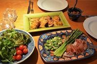 タンドリーチキン/春野菜の前菜/ホタルイカのトマト煮/サラダ - まほろば日記