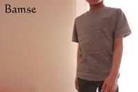 キッズTシャツ(パターンレーベル)120cm グレー杢 - Bamse