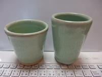 翡翠色のカップ2つ - 20140427