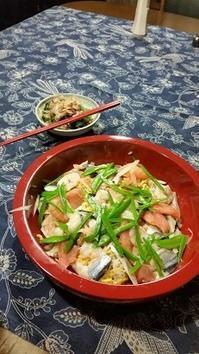お雛様のお寿司 - 牡蠣を煮ていた午後