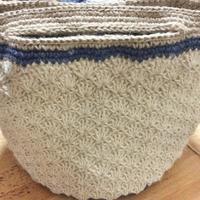 やっと松編みマルシェバッグの持ち手まで編みあがりました。 - +you