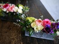 送別のアレンジメント2種。ブリキコンテナアレンジメントのミニタイプ。 - 札幌 花屋 meLL flowers