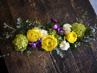 お誕生日の男性へ。「明るい感じ」。豊平7条にお届け。ブリキコンテナアレンジメント。 - 札幌 花屋 meLL flowers